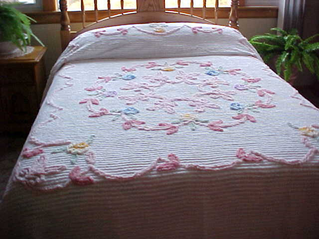 Soft Pink And Blue Flowered Chenille Bedspread On By Designer2