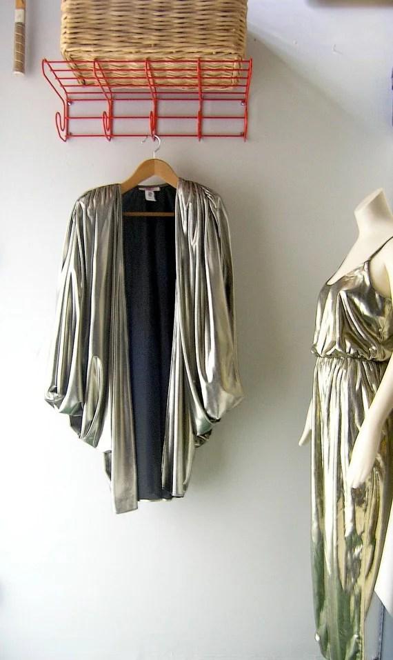 80s Gold lame disco jumpsuit and jacket ensemble Major Diva