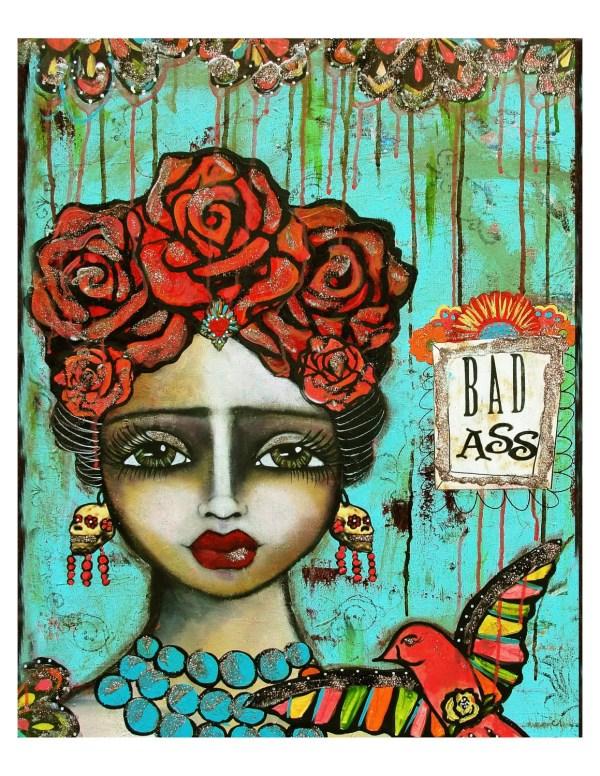 Frida Kahlo Mexican Folk Art Bad Ass Fine Print Of