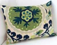 Suzani Pillow Cover Blue Green Pillow Lumbar Pillow Throw