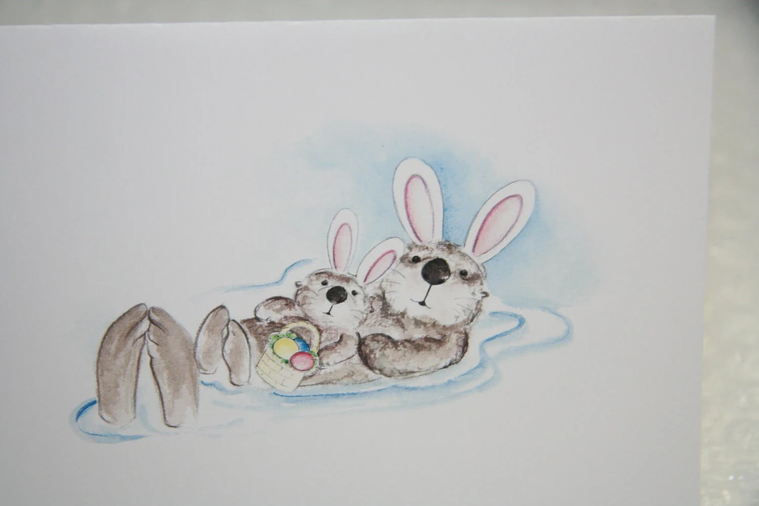 Sea Otter WBaby And Wearing Easter Bunny Ears Happy Easter
