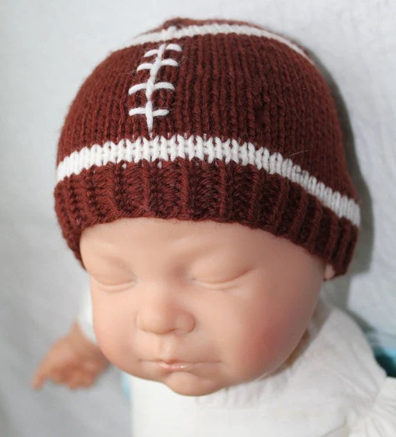 Items similar to KNITTING PATTERN Football Baby Hat Size