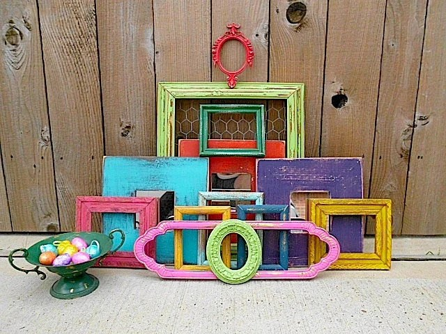 Upcycled FESTIVAL Of COLOR Vintage Picture Frame Mirror