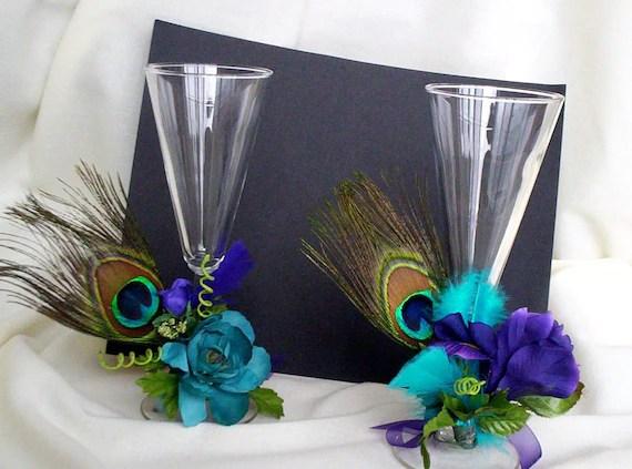 Peacock Bridal Accessories Toasting Flutes Decoration Wedding