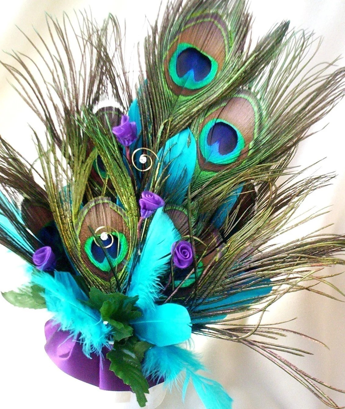 Wedding Cake Topper Peacock Feathers Turquoise Purple