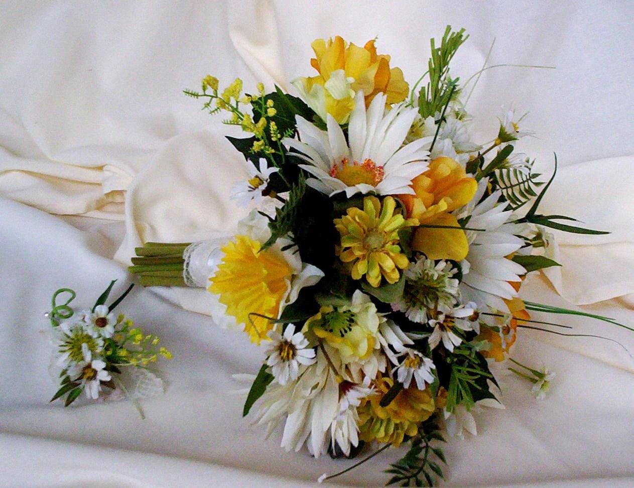 Silk Bridal Bouquet Yellow Wedding Flowers Package Custom