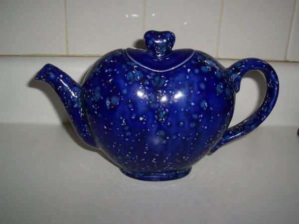 Handmade Ceramic Heart Shaped Teapot Splattered Cobalt Blue