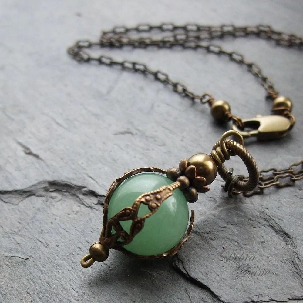Green Aventurine Necklace Safe Traveller Pendant Moss Green