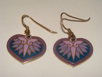 Vtg Laurel Burch Hollyhock Earrings Heart Pink Purple