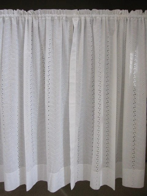 Vintage Lace Curtains Eyelet Lace Curtains Set of 2 White