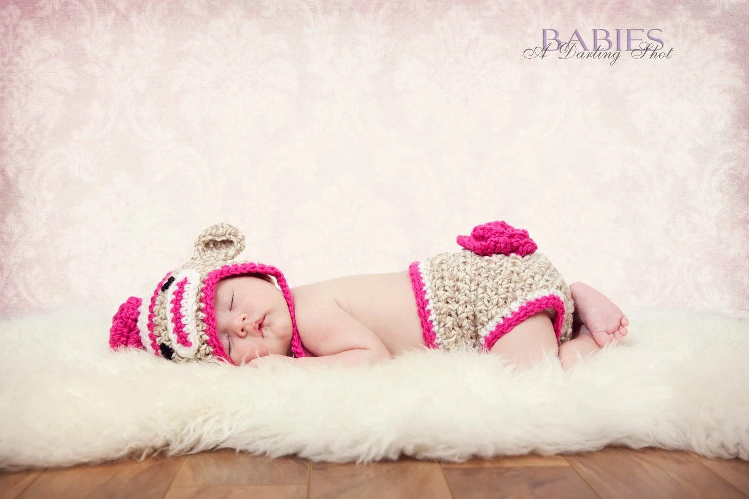 Newborn Flower Sock Monkey Eaflap Hat and Matching Monkey Diaper Cover – Photography Prop (Beige, White and Hot Pink) by BuggyD