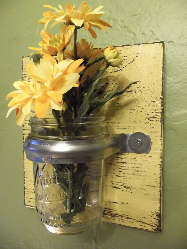 Rustic Wall Sconces with Vases