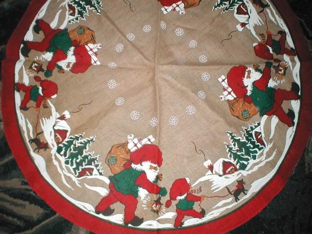vintage christmas tree skirt swedish burlap elf pattern - Vintage Christmas Tree Skirt