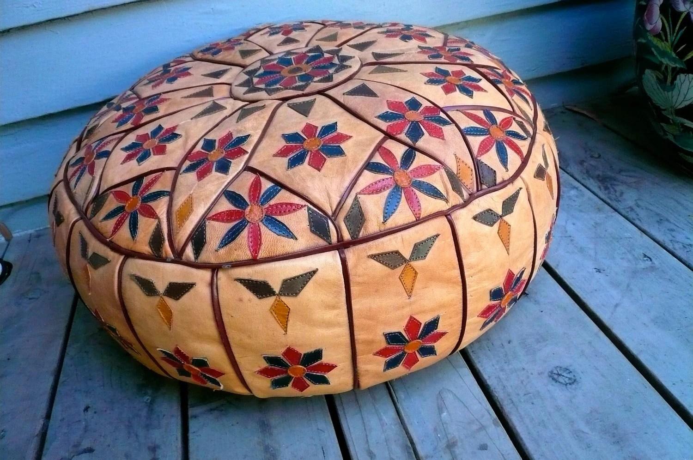 VIntage Leather Pouf Ottoman with Decorative Applique