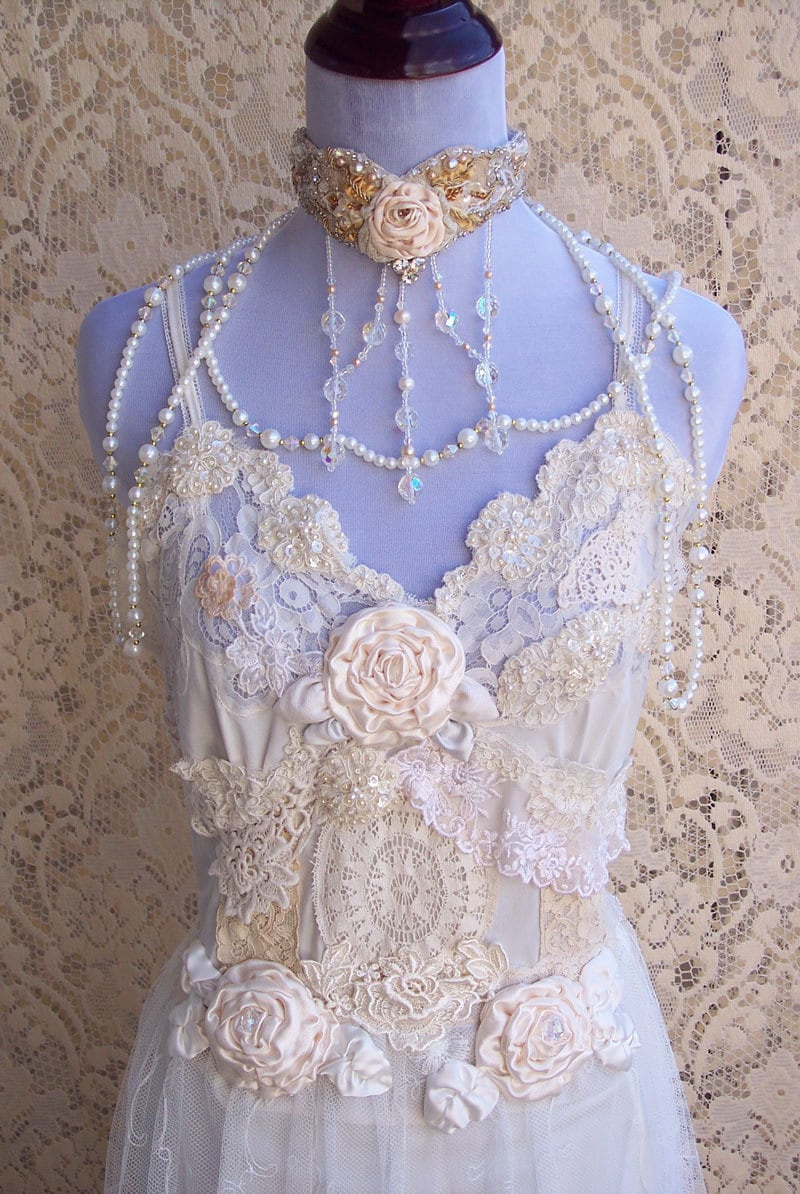 French Vintage Lingerie Wedding Gown Italian by roselanijasmin