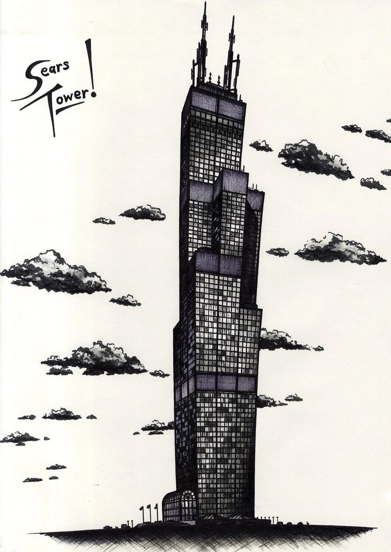 original Sears Tower marker drawing