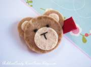 teddy bear hair clip cute felt