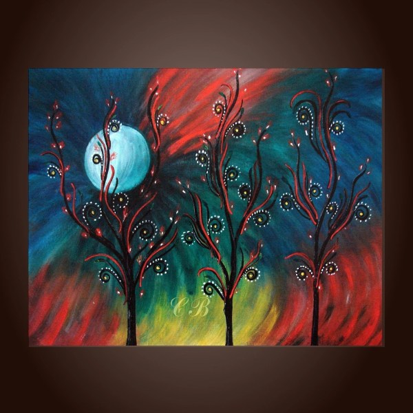 Peacock Inspiration Abstract Landscape Painting Print. Free