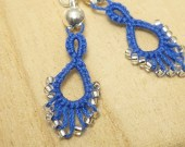Tatted Earrings in blue with glass beads -Flash Drips