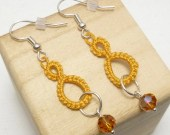 Tatted lace Drop earrings in Gold with Amber crystals -Drops