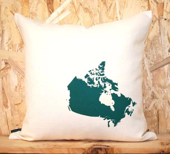 Map of Canada Pillow in Off-white with fill