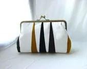 White / Black / Gold Clutch Purse - Portia