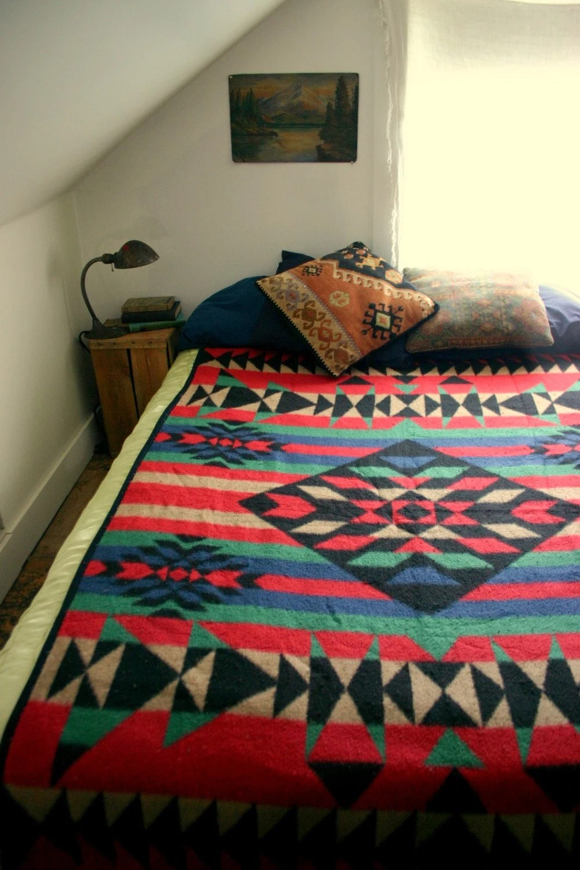 Vintage Pendleton Style Fleece Blanket