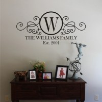 LARGE Swirly Circle Family Monogram Vinyl Wall Decal
