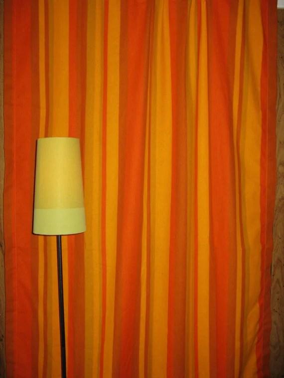Vintage Funky 70s Orange Striped Curtains
