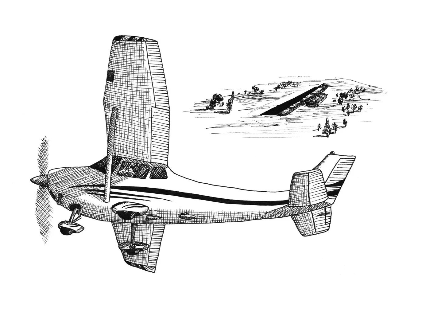 Family Tie-Downs Aviation Airplane Drawing Print