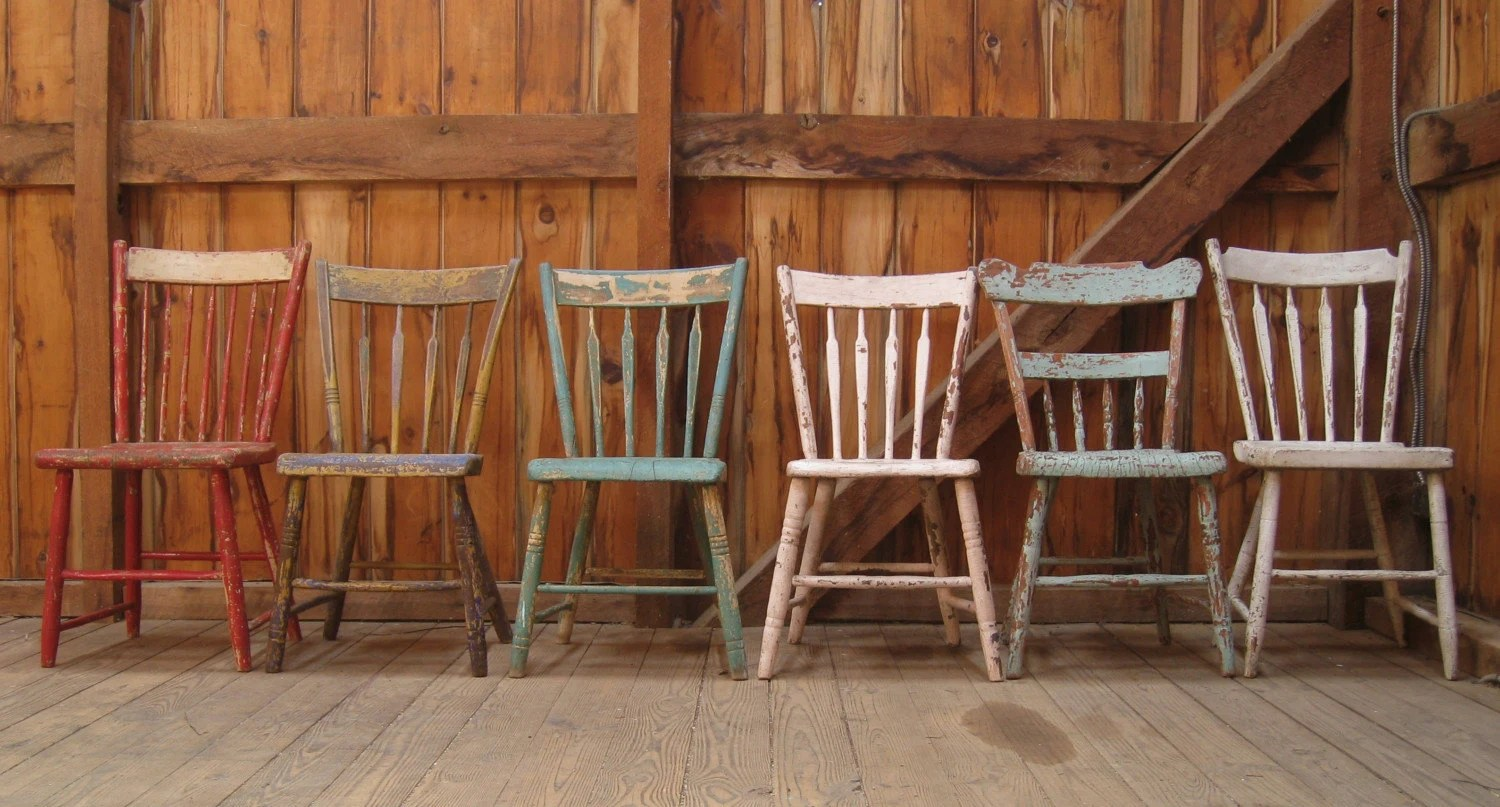 farmhouse dining chairs tables and houston antique primitive plank seat set of