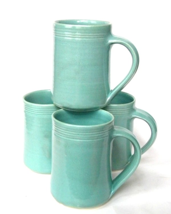 Set of 4 16 oz Handmade Ceramic Mug Aqua by crutchfieldpottery