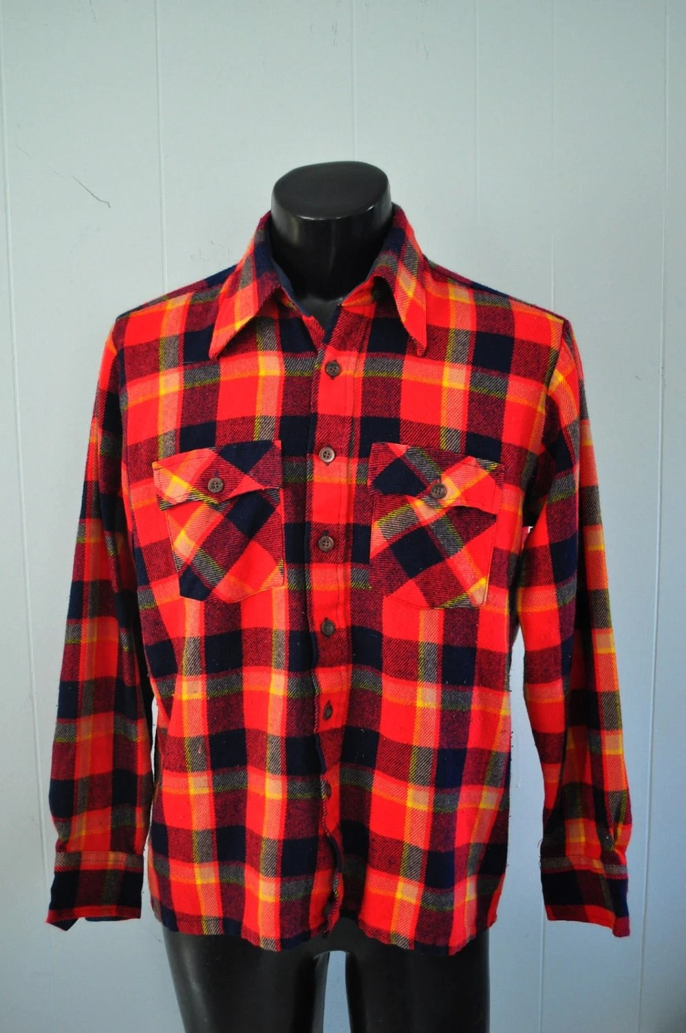 Rare Vintage Neon Red Pendleton Flannel Shirt Electric Neon