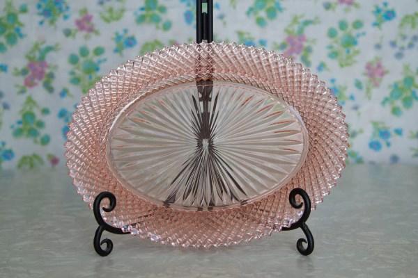 Pink Depression Glass Oval Platter