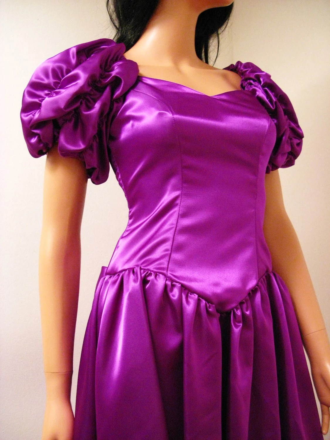 Purple Satin 80s Prom Dress Vintage 1980s Long Formal Gown