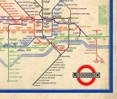"Vintage London Tube Map ""The Underground"" Antique British Vintage Map - Deco England English Tourism WWII Kitsch London Underground The Tub - missquitecontrary"