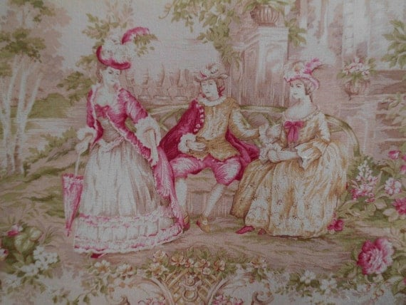 French Pink Toile Marie Antoinette Pillow RESERVED FOR ANITA