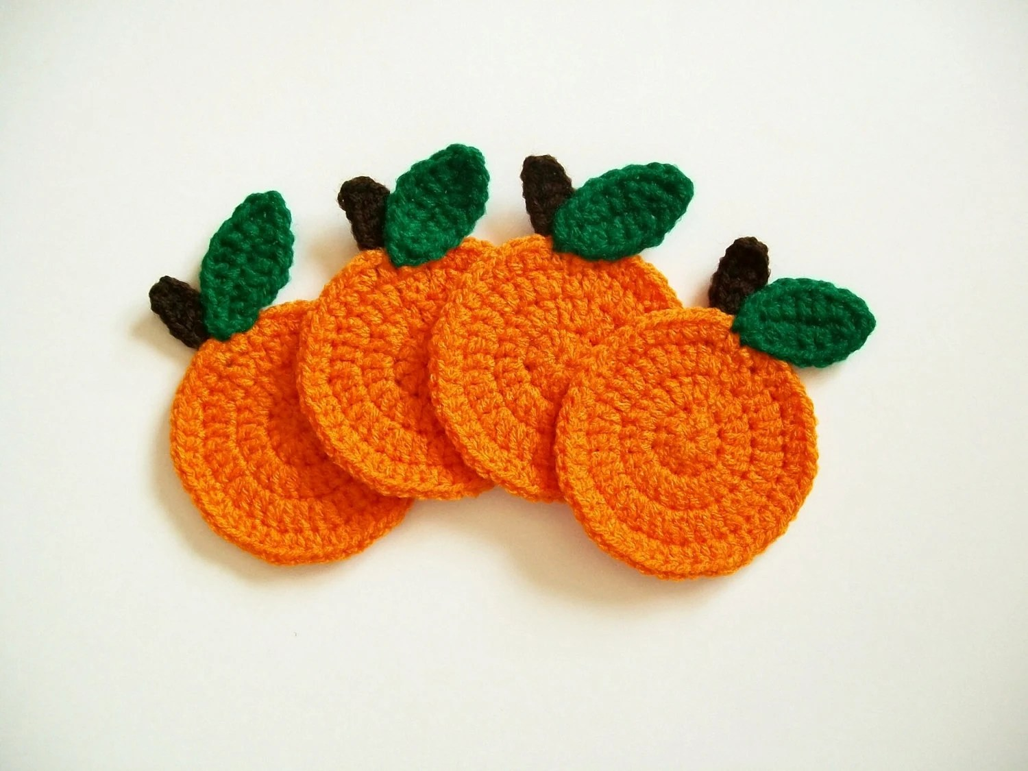 Crochet Orange Fruit Coasters Housewarming Gift Handmade Set of 4 - littledarlynns