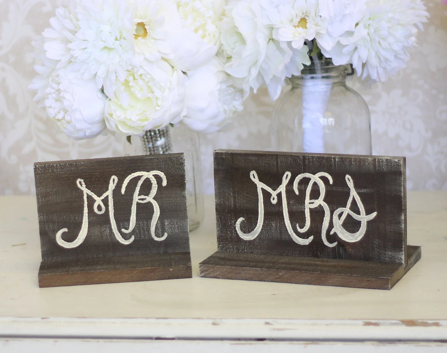 Rustic Wedding Signs Mr And Mrs Table Item P10152 By