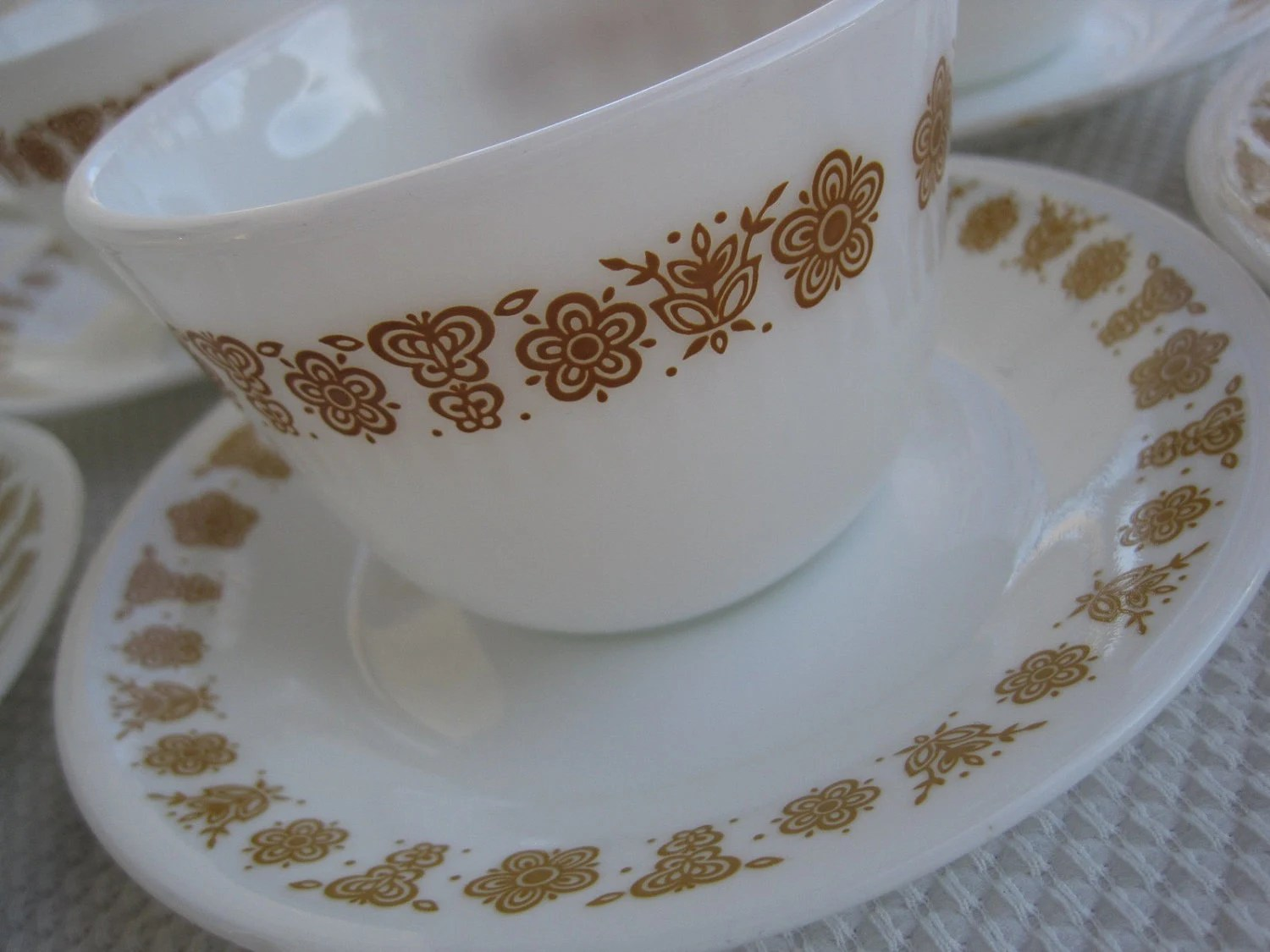 Vintage Butterfly Gold Corning Corelle Cups and Saucers