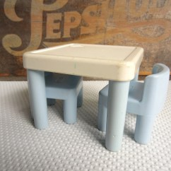 Little Tikes Chairs Ikea Dining Chair Covers Henriksdal Vintage Table And Blue White Dollhouse