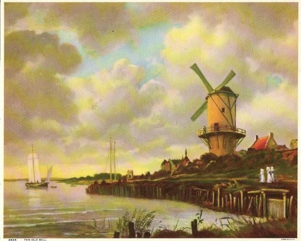 Windmill Landscape Vintage Art Print Nancesnostalgia