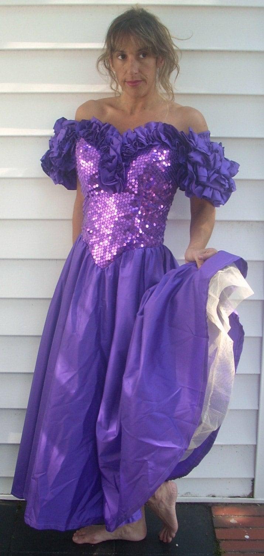 Vintage 1980s Purple Sequin Prom Dress XS S 0 2 4