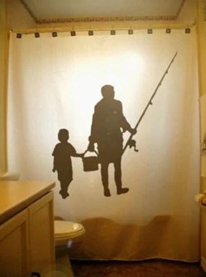 Family Fishing Shower Curtain Fisherman Bathroom Decor