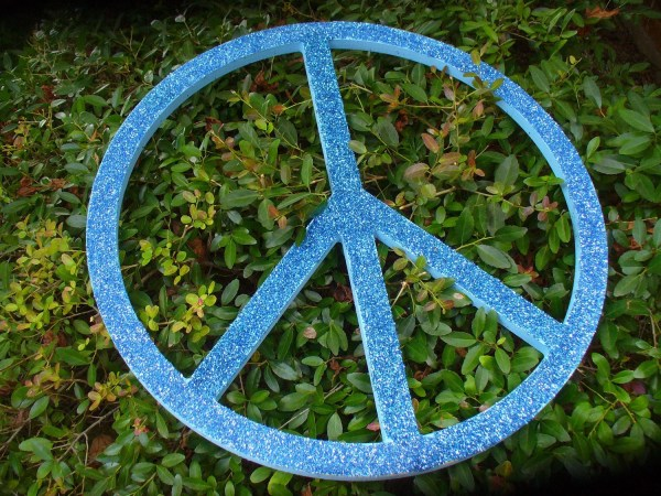 Giant Glittered Wooden Peace Sign-large Glitter Sign