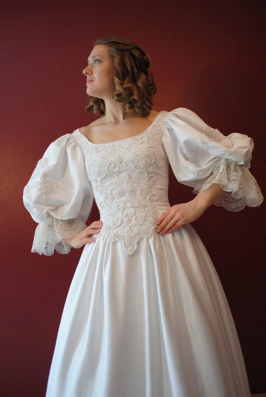 Cavalier 1700s Wedding dress with lots of beading