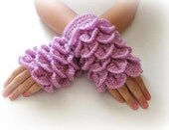Fingerless Gloves , Lilac, Purple, Trendy, Grily, Teenie, Women, Flower - Iovelycrochet