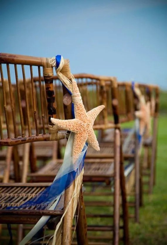 Sugar Starfish Beach Wedding Decorations and Pew Bows