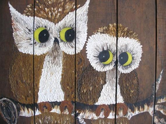 Big Owl Painting on Wood - Mama Owl & Baby - Vintage Original Oil Painting - VintageZen