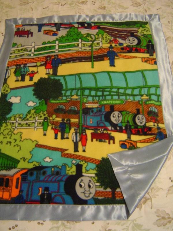 Thomas Train Fleece Satin Baby Toddler Blanket